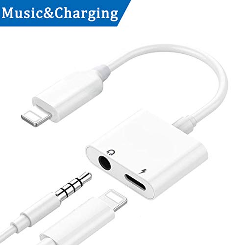 Compatible for Dual Lighting Headphone Audio Adapter Replacement for iPhone 7/7Plus iPhone 8/8Plus X Earphone Lighting Jack Adaptor Splitter [ Charge & Call & Wire Control ] Support iOS 11 System