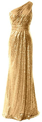 Party Long Formal 2017 Evening Gold Prom One Sequin Gown Dress Shoulder Women MACloth IwqSa4zw