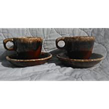 Hull Pottery Brown Drip Pattern Cups and Saucers, 2 sets