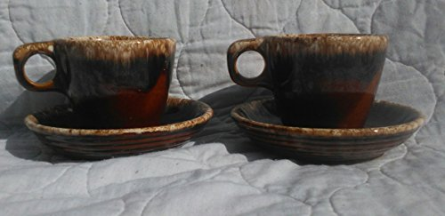 Hull Pottery Brown Drip Pattern Cups and Saucers, 2 sets Hull Pottery Brown Drip