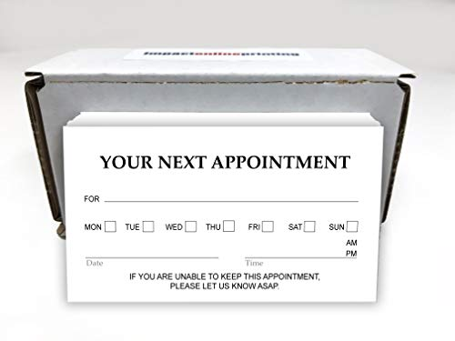 "Appointment Reminder Business Cards 3.5"" x 2"" - Pack of 100, Printed Thick 16pt Cover Stock (129 lbs. 350gsm), Offset Printing, Made in The USA (Basic)"