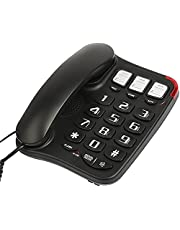 Uvital Big Button Landline Phone with Speaker for Seniors Elderly, 3 One-Touch Memory and 10 Two-Touch Memory Support One-Touch Speed Dials, Wall Mountable Black
