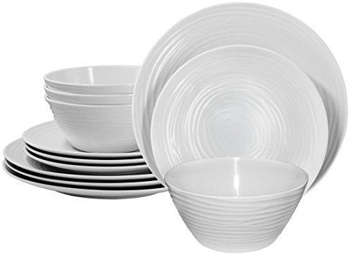 (Parhoma White Melamine Home Dinnerware Set, 12-Piece Service for 4)