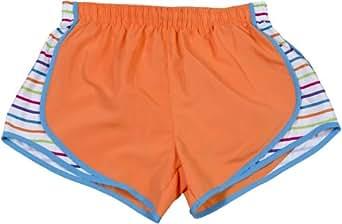 Neon Orange with multi side stripe print sport velocity shorts, Extra Small