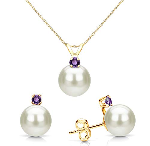 - 14K Yellow Gold Freshwater Cultured Pearl 7-7.5mm and Simulated Purple Amethyst Pendant and Stud Earrings Set
