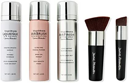 MagicMinerals Deluxe AirBrush Foundation Set by Jerome Alexander, 5 Piece Spray Foundation Kit, Warm Medium
