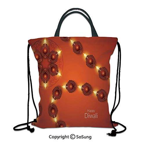 Diwali 3D Print Drawstring Bag String Backpack,Paisley Design Tribal Festive Celebration Image with Candle Work of Art Decorative,for Travel Gym School Beach Shopping,Dark Orange Yellow - Bottle Bag Paisley Park