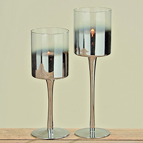Grazia Lantern 25 CM Height Painted Glass Silver BOLTZE GRUPPE GmbH