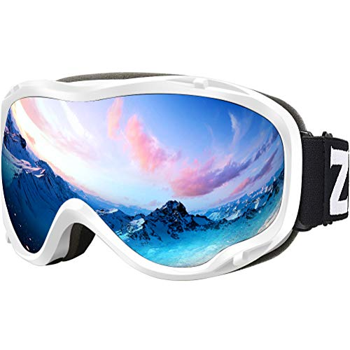 ZIONOR Lagopus Ski Snowboard Goggles UV Protection Anti Fog Snow Goggles for Men Women Youth VLT 8.6% White Frame Silver Lens (Ski Helmet Chrome)