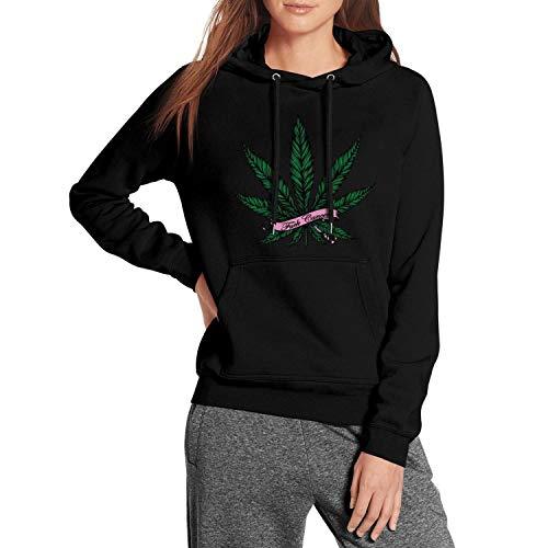F Cancer Awareness Marijuana Leaf Blend Fleece with Pocket Vintage Sweaters ()