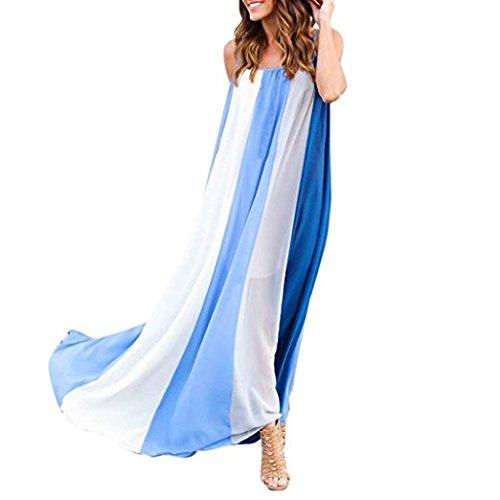 Gallus Hippolo Courroie sans XL plage de longue bleu mousseline caf d't manches longue en sexy d'impression Robe r8xwqzRrt