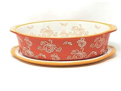 Temp-tations 3.0 qt Oval Baker w/Lid-It (Floral Lace Pumpkin)