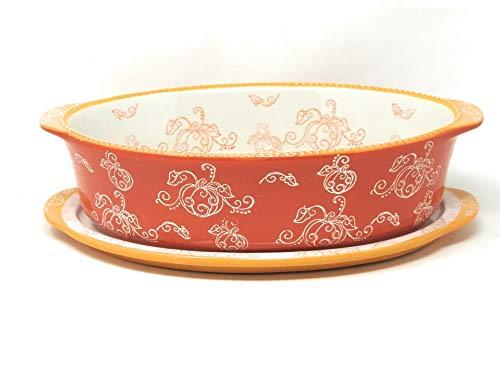 - Temp-tations 3.0 qt Oval Baker w/Lid-It (Floral Lace Pumpkin)