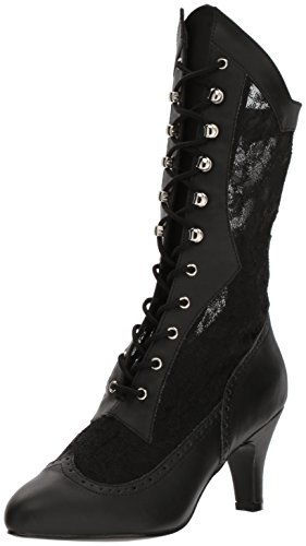 Bpu salc womens Pleaser Div1050 Leather Black Lace satin Faux PqxwwdCE
