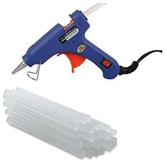 Wadro (SUPER/4K) 40W 40WATT Mini HOT MELT GLUE GUN (ON OFFSwitch & LED Indicator) With 15 Long Glue Sticks(7mm) (Blue)
