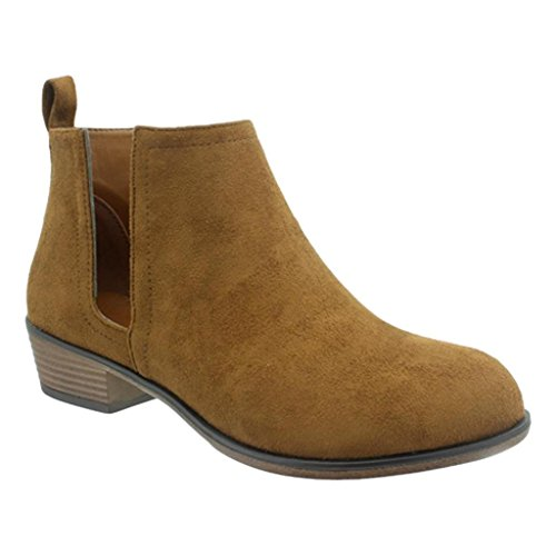 Pierre Dumas Zoey-13 Women's Faux Suede Side-Cut Rounded Toe Stacked Low Heel Ankle Boot Bootie (6 B(M) US, New Tan - Sidecut Women