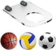 HAI+ Ball Holder Display Rack, Acrylic Wall Mount Ball Hanger Storage Stand, Invisible Clear Shelf, for Soccer