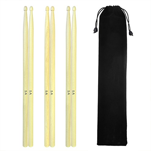 - Sywon 5A Drumsticks Hard Maple Wood Drum Sticks Wood Tip Student Drum Sticks with Carry Bag, 3 Pairs