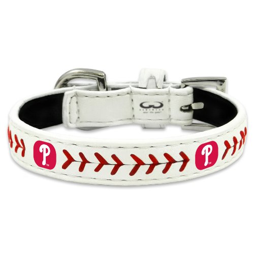 MLB Philadelphia Phillies Classic Leather Baseball Dog Collar (Philadelphia Phillies Mlb Leather)