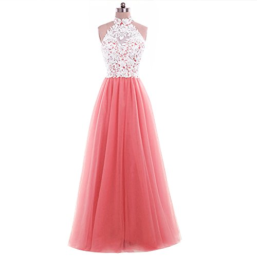 Coral Hochzeit A brautjungfer Party Abendkleid Lace Kleid kleid Ballkleid langes Linie Tuell Damen Cocktail Od0wPqw