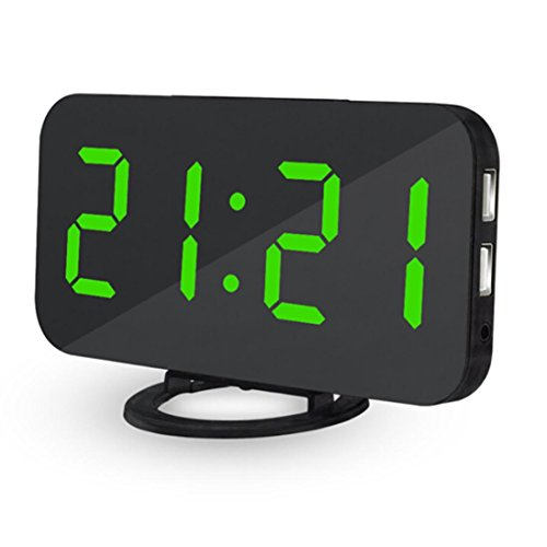 Inverlee LED Digital Alarm Clock With USB Port For Phone Charger Touch-Activited Snooze (Green)
