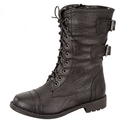 Little Girls' Combat Lace Up Boots with Buckle Accent