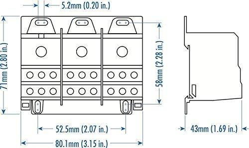 ALTECH 38075 IP20 Finger Safe 8-2 AWG 3 Phase DIN Rail Power Distribution Block - 1 Item(s) ()