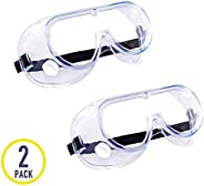 2 Pack Safety Goggles, Protective Safety Glasses, Soft Crystal Clear Eye Protection - Perfect for Construction