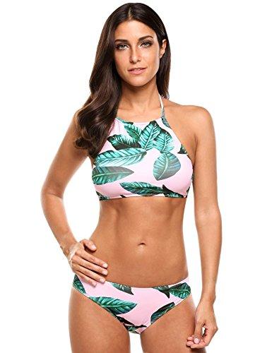 Woman Halter Bikini Swimsuit(Pink) - 2