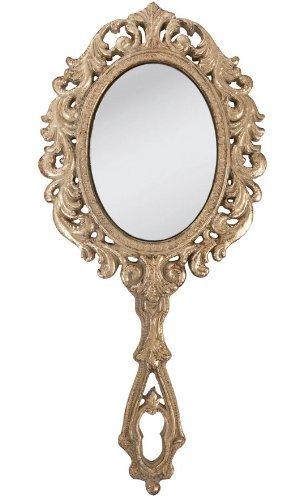 Handspiegel 28cm gold farben NEU Clayre & Eef großer Spiegel Friseurspiegel Nostalgie Vintage Shabby Chic 62S009