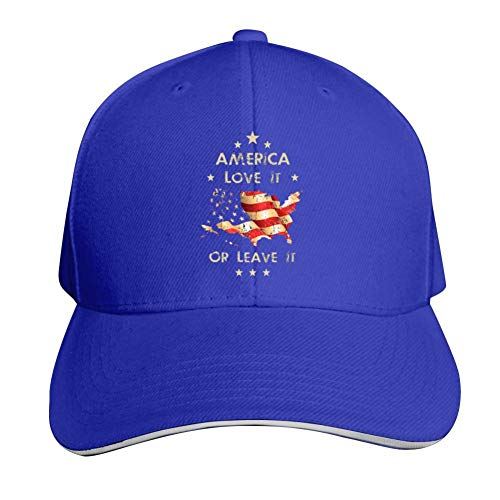 America Love It Or Leave It Adjustable Baseball Cap, Old Sandwich Cap, Pointed Dad Cap Blue