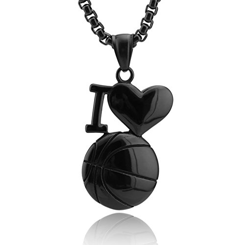 (HZMAN I Love Sport Necklace Heart Stainless Steel Pendant. Available in Baseball, Basketball, Soccer)