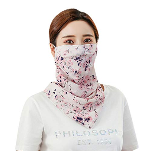 Summer Sun UV Protection Face Neck Cycling Masks for Women Girls Cool Chiffon Breathable Anti Flu Allergy Masks Adjustable Earloop Pollen Germ Riding Masks Muffle Gauze Sanitary Masks (Plum, White)