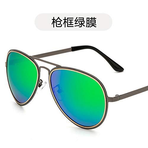 de Gafas Gafas y Hombre polarizadas Sol Sol frame Moda Negras Metalizadas de Sol Burenqiq Mujer de Gafas de de Sol Retro Gafas polarizadas Gafas de de Gun de film green conducción Sol ZwSqHI