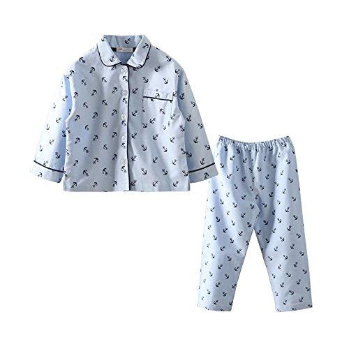 Mud Kingdom Boys Collar Pajamas Sets Anchor Pattern