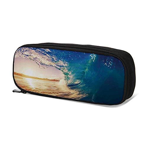 Ocean Decor Durable Pen Bag,Ocean Wave at Sunrise Reflection on Surface Tropical Trees Shoreline Summertime Picture for School,9.4