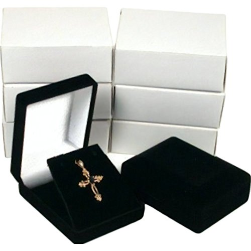 - 6 Necklace Pendant Gift Boxes Jewelry Displays Black