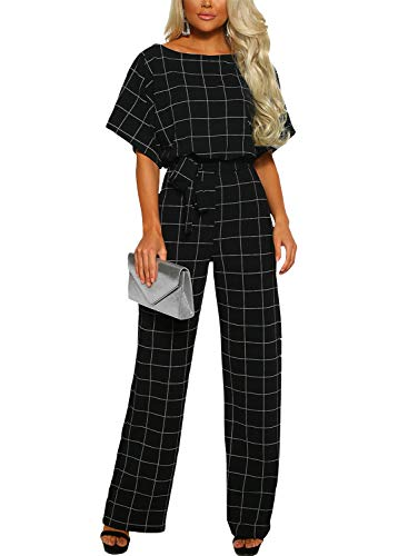 Asyoly Women Casual Batwing Sleeve Checked Long Pants Loose Wide Legs Jumpsuits