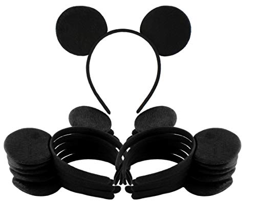 Black Mouse Ear Headbands (12-Pack); Mickey Style Headgear for Costume/Party -