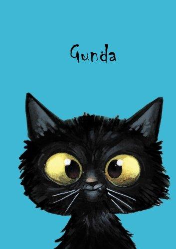 Gunda: Personalisiertes Notizbuch, DIN A5, 80 blanko Seiten mit kleiner Katze auf jeder rechten unteren Seite. Durch Vornamen auf dem Cover, eine Coverfinish. Über 2500 Namen bereits verf