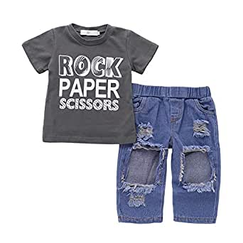 Weixinbuy Kids Baby Boy's Short Sleeve Grey Crewneck T-Shirt Top Tee Frayed Denim Pants Clothes Set