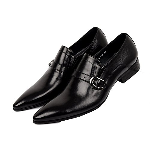Innovative and Fashion Monk Shoes,Genuine Leather,Plain Pointed Toe, Fashion Sole;black... Straps,Low Heel,Rubber Sole;black... Fashion B077NH552F Shoes 661319