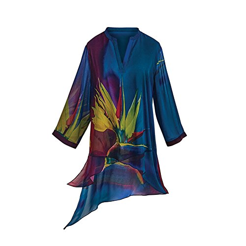 Cocoon House - Cocoon House Women's Tunic Top - Bird of Paradise V-Neck and 3/4 Sleeve Blouse - Large/XL