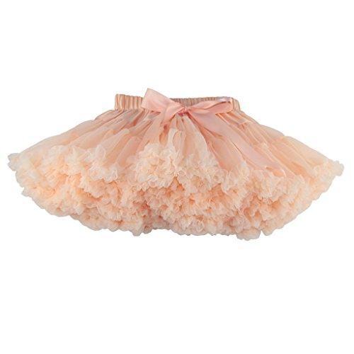 (Buenos Ninos Girl's Solid Color Dance Tutu Pettiskirt Apricot)