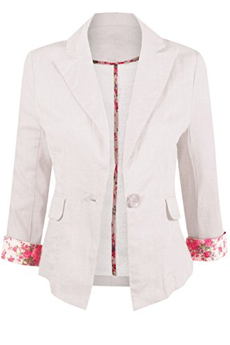 Button Single Collar Blazer (Casual Lightweight Linen Blend Blazer with A Notched Collar and Front Single Button Closure)