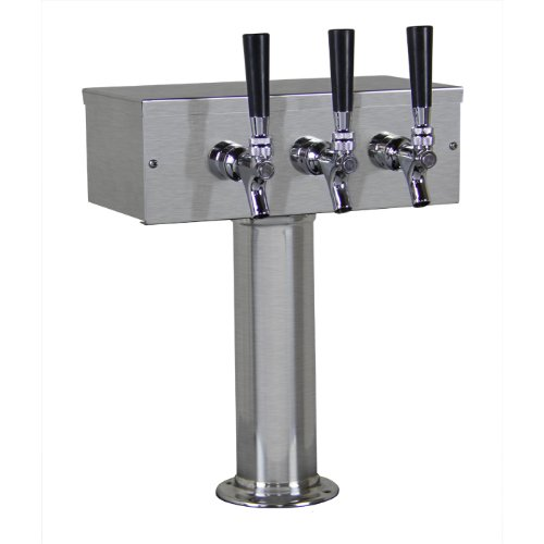 Kegco TTOW-3F-BRUSH Brushed Stainless Steel T-Style 3 Faucet Draft Beer Tower - 3 Inch Column