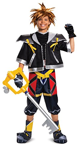 Disguise Men's Sora Deluxe Teen Costume, Black, Child XL(14-16)