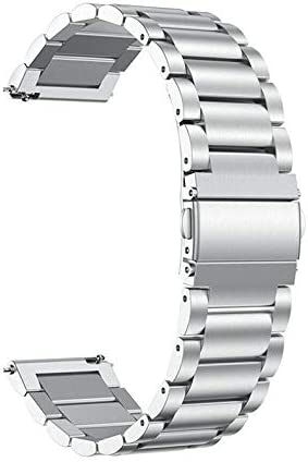 KOMI 22mm Watch Band Compatible with Samsung Gear S3 Frontier/ S3 Classic Watch, Stainless Steel Watch Bands Brushed Finish Watch Strap(22mm, Sliver)