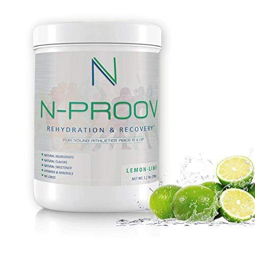 (N-Proov Rehydration Electrolyte Powder & Sports Recovery Drink Mix 100% Natural Electrolyte Replacement for Young Athletes Ages 8 & up, No Sugars, No Additives, No GMOS, 1.7 lb (780g) Lemon Lime)