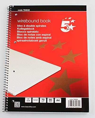 [Gesponsert]5 Star Collegeblock A4, kariert mit Rand, 80 Blatt 70g/m², gelocht, 30er Pack